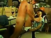 Horny customer fucks his slutty hair stylist in mish pose on chair