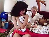 Blond haired torrid chick sucks nipples of her black haired slutty kooky