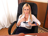 Big boobed blond hottie sucks sugary cock of her boss furiously