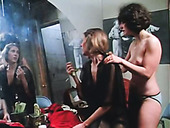 Dirty-minded lesbos enjoy licking each other's soaking twats in dressing room