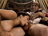 Oriental busty slut provides Rome emperor with stout blowjob in palace
