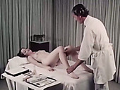 Pale brunette with hairy pussy gets examined by doctor and gives him handjob
