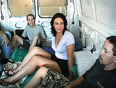 Dark haired filthy sex doll with slim shapes had hard gangbang in the truck