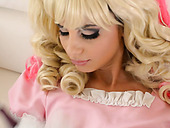 Insatiable blond haired cinderella in pink dress loves steamy solo