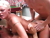 Short haired blonde bitch agrees for hot DP with just met dudes (MMF)