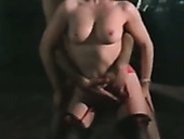 Busty classic European milf gives vintage style blowjob