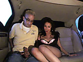 Lusty brunette bitch Vicki Chase performs solid BJ to 2 guys on the back seat of car