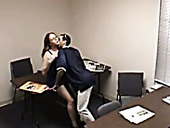 Hungry guy eats sweet kitty of his light haired kinky chick in the office