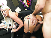 Kinky dude Johnny Castle eats pussy of well shaped blond mommy in the office