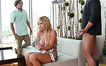 Mouth-watering girl Tasha Reign gives head to Chad White and Tyler Nixon in MMF threesome