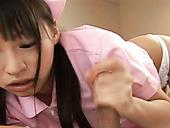 Kinky Japanese nurse Riku Shiina lets patient finger her hungry pussy