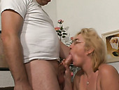 Ugly fat and nerdy blonde mature slut sucks strong dick and gets banged