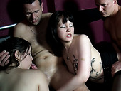 Filthy whores fuck fiercely in kinky foursome action