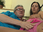 Horny old dude seduces young skank and plays with her tight pussy
