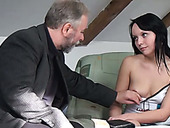 Kinky Brunette Teen Lures Old Bearded Man To Give Him Solid Blowjob