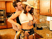 Oversexed hottie Chanel Preston is having sex with Brick Danger in the kitchen