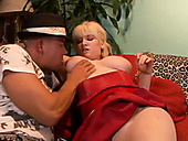 Huge breasted chubby blonde fatso gives titjob and not bad blowjob
