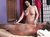 Well stuck brunette masseuse teases dude with a really nice blowjob