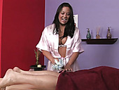 This magnetic Asian masseuse gives her client a stress relieving handjob