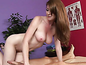 Desiring redhead hottie gives awesome titjob and blowjob