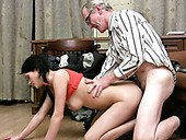 Old wanton stud in glasses fucks slim dark haired girlie from behind