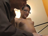 Mature freak fingerfucks wet kitty of short haired slut in glasses