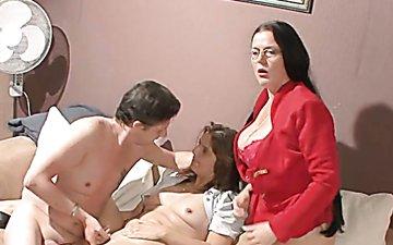 Freaky shy boy enjoys steamy sex with two wanton skilled sluts