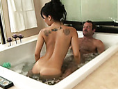 Sensual masseuse Asa Akira provides dude with good soapy massage