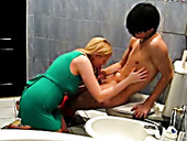 Slutty blond chick in green mini dress fucks with her Asian BF in bath