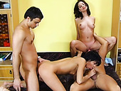 A couple of drunk studs have hard 4 some with busty brunette sex dolls
