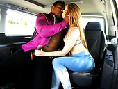 Black horny macho eats sweet pussy of slim long haired bitch in his car