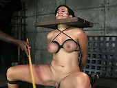 Black stud and his busty white GF have steamy BDSM fuck