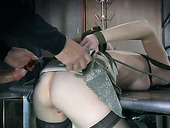 Tied up slut gets her pussy stretched with massive cock in doggy pose
