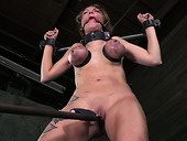 Leggy chick with tied up tits gets her pussy punished hard