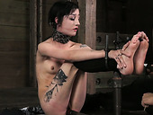 Flat chested tattooed brunette gets restrained and punished