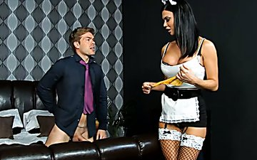 Sex appeal maid wearing sexy uniform seduces boss and polishes his stiff dick