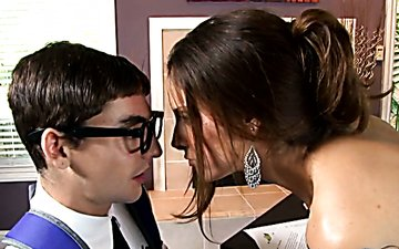 Busty raven haired sweetie blows smelly cock of her young teacher greedily