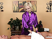 Horny dude enjoys erotic massage and nice BJ performed by short haired gal