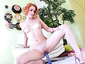 Torrid ginger whore Addie Juniper rides blue hard dildo greedily