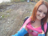 Perverted Russian chick provides strange dude with good blowjob outdoor