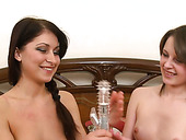 Two cute girlfriends enjoy riding hard dicks and take cumshots on their faces