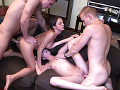 Two young swinger couples arrange dirty orgy at home
