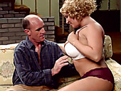 Curly fat super busty housewife wins a chance to blow tasty hot prick