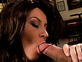 Appetizing brunette sexpot called Sara Stone sucks and titfucks strong cock