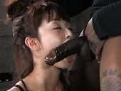 Tied up Asian bitch gets bound and mouth fucked by black BDSM master hard
