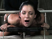 Black stud doggy fucks tightly bound white hottie hard