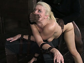 Beautiful blonde Anikka Albrite deep throats 10 inch BBC being bound