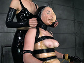 Juicy tied up chick in mask gets her pussy finger fucked