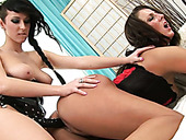 Dark haired dumpy lesbian s fuck each other with strapon hard