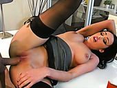 Magnificent secretary seduces her boss and gives her shaved pussy